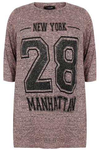 "Dusty Pink Ribbed Varsity ""Manhattan"" T-Shirt With 3/4 Length Sleeves"