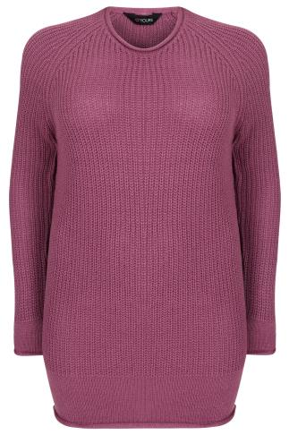 Dusty Pink Rolled Edge Knitted Scoop Neck Jumper