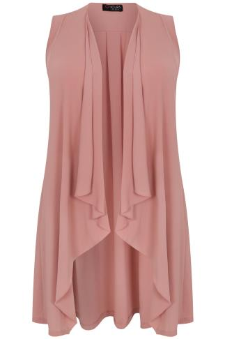 Dusty Pink Sleeveless Waterfall Waistcoat With Tie Back