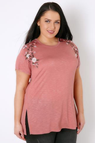 Dusty Pink Slub Jersey Top With Floral Embroidered Shoulders