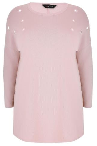 Dusty Pink Sweat Top With Eyelet Details