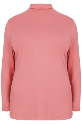Dusty Pink Turtle Neck Long Sleeved Soft Touch Jersey Top