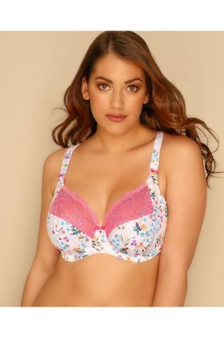 Lingerie Sets ELOMI White & Multi Floral Print Underwired Maya Bra 146025
