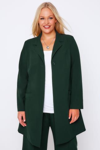 Blazers Emerald Green Longline Blazer Jacket With Single Button 101202