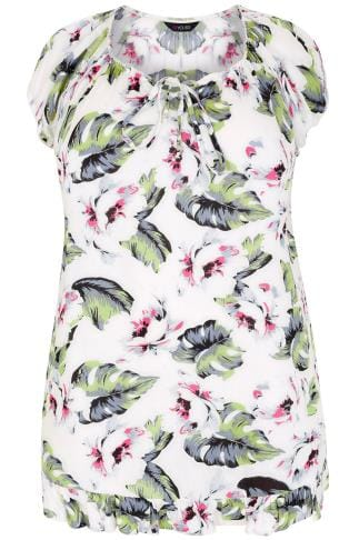 White & Multi Leaf Print Gypsy Top With Frill Hem