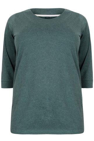 Forest Green Band Scoop Neckline T-Shirt With 3/4 Sleeves