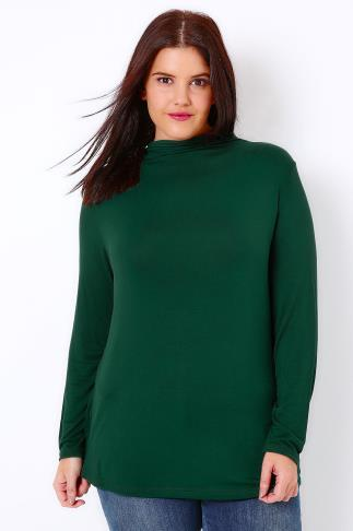 Forest Green Turtle Neck Long Sleeved Soft Touch Jersey Top