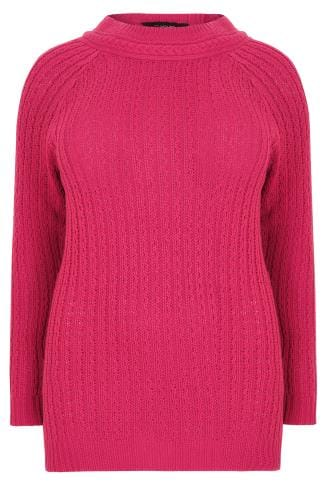 Fuchsia Longline Jumper With Cable Knit Trim