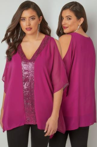 Blouses YOURS LONDON Fuchsia Pink Sequin V-Neck Blouse With Cold Shoulders 156245