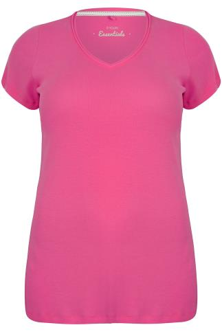Fuchsia Pink Short Sleeved V-Neck Basic T-Shirt