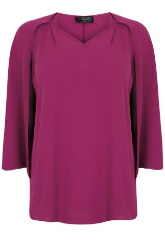 Fuchsia Pink Woven Sleeveless Top With V-Neck & Cape Detail