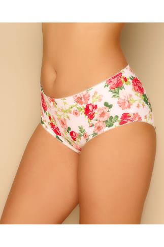 GODDESS White & Multi Floral Print Brief 146030