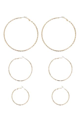 Gold 3 Pack Hoop Earrings