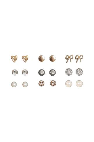 9 PACK Gold Assorted Stud Earrings