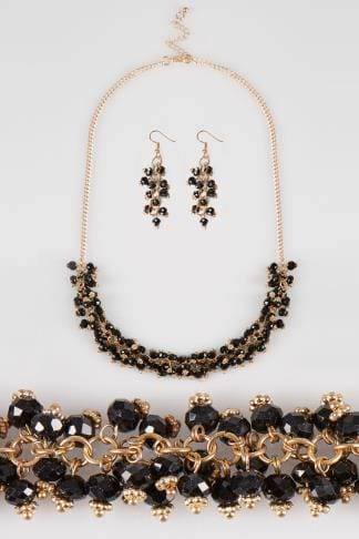 Gold & Black Beaded Necklace & Earrings Set