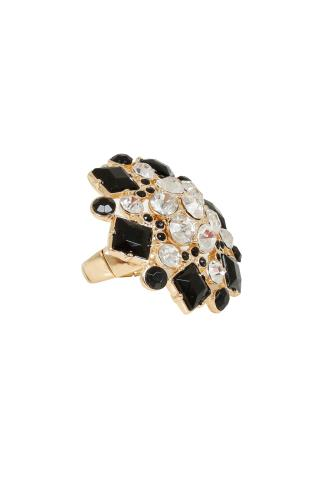Gold & Black Diamante Encrusted Statement Floral Ring