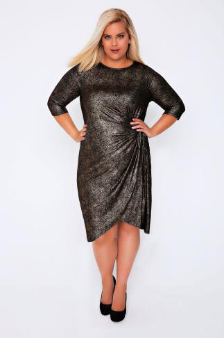 Gold & Black Midi Dress With Twisted Knot Front Detail