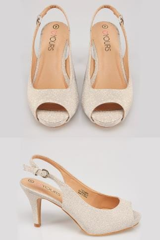 Wide Fit Heels Gold COMFORT INSOLE Glittery Peep Toe Sling Back Heels In True EEE Fit 154032