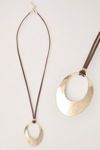 Jewellery Gold Cut Out Circle Pendant Necklace 152129
