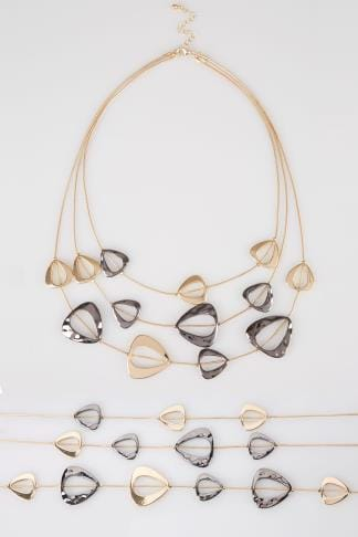 Necklaces Gold Cut Out Layered Necklace 152333