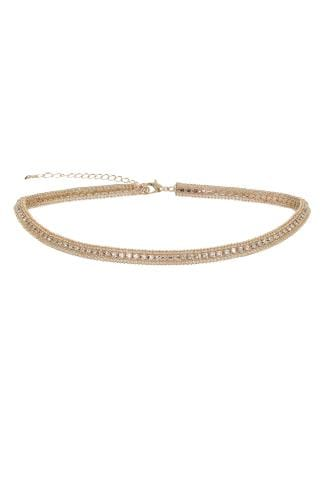 Necklaces Gold Diamante Encrusted Choker 152193