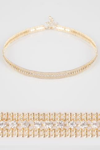 Gold Diamante Encrusted Choker
