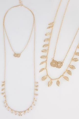 Gold Double Layer Leaf & Circle Pendant Long Necklace