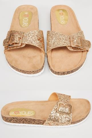 Wide Fit Sandals Gold Glitter Cork Effect Footbed Flat Mule Sandals In True EEE Fit 154040