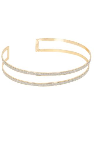 Gold Glitter Cut Out Choker