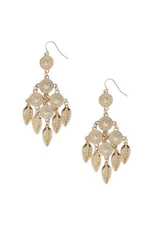 Gold Hanging Circle & Leaf Earrings