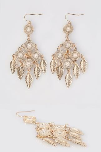 Earrings Gold Hanging Circle & Leaf Earrings 152093
