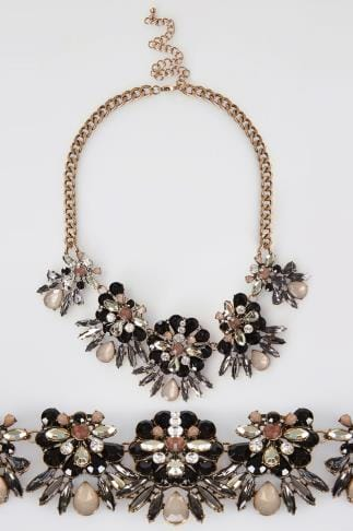 Gold Jewelled Floral Statement Necklace