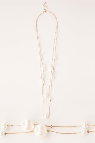 Necklaces Gold Layered Pearl Necklace 152157
