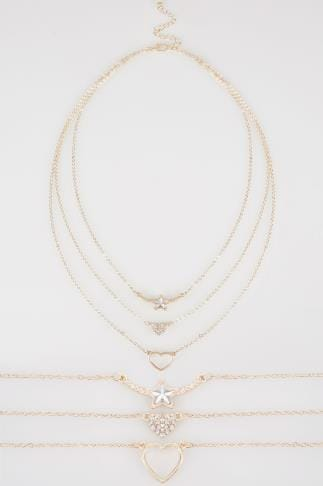 Necklaces Gold Layered Three Piece Necklace With Diamante Details 152408
