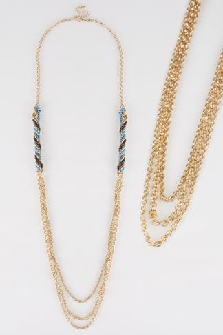 Jewellery Gold Long Necklace With Blue & Turquoise Beads 101309