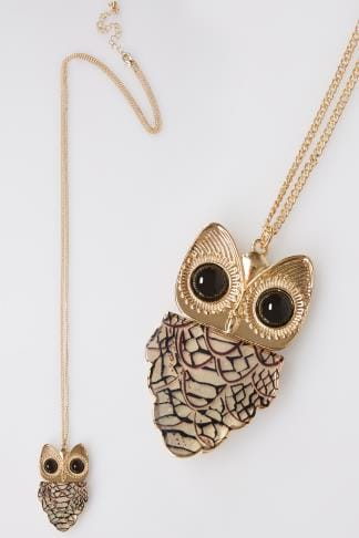 Gold Long Necklace With Tortoiseshell Owl Pendant