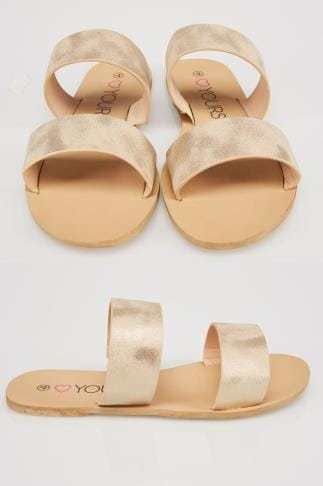Gold Metallic Two Strap Slip On Flat Sandals In EEE Fit