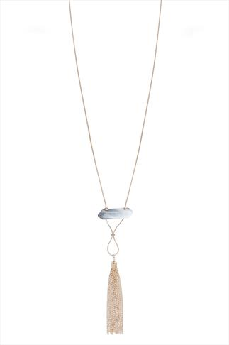 Gold Necklace With White Marble Effect Shard Pendant & Tassel