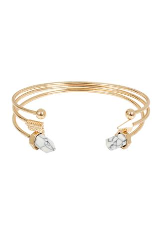 Gold Open Bangles With White Marble Effect Stone