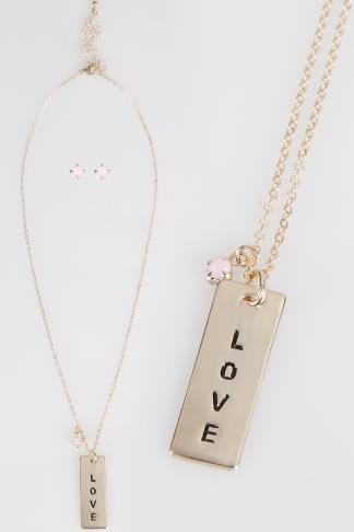 Gold & Pink Live Laugh Love Necklace & Stone Earring Set