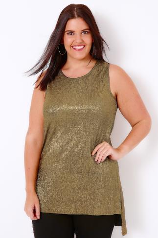Gold Plisse Longline Sleeveless Top With Stepped Hem