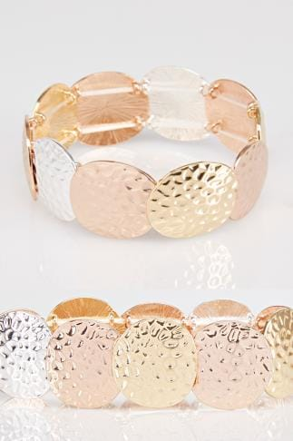 Gold & Silver Hammered Circle Stretch Bracelet