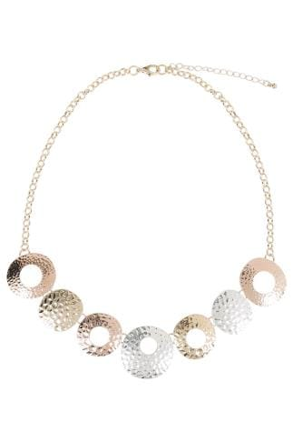 Necklaces Gold & Silver Hammered Metal Circle Necklace 152172