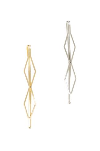 Hair Accessories 2 PACK Gold & Silver Hexagonal Hair Slides 102847
