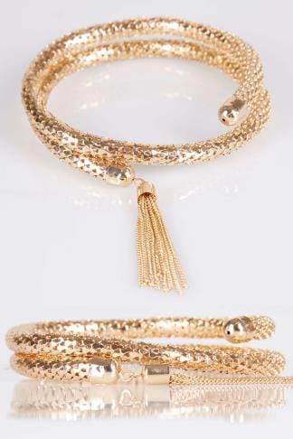 Gold Snake Chain Coil Bracelet With Tassel