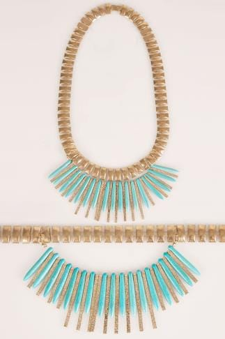 Necklaces Gold Statement Necklace With Removable Turquoise Stone Spike 051975