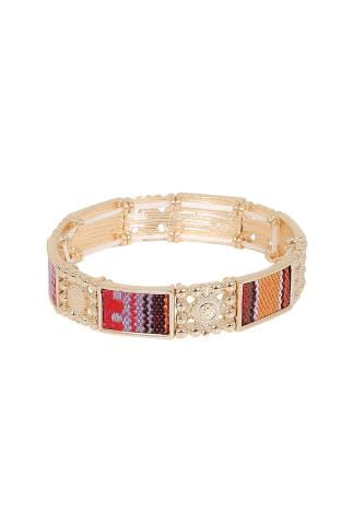 Gold Stretch Bracelet With Contrast Fabric Inserts