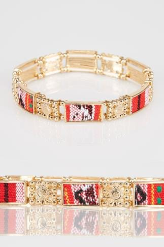 Armbänder Gold Stretch Bracelet With Contrast Fabric Inserts 152097