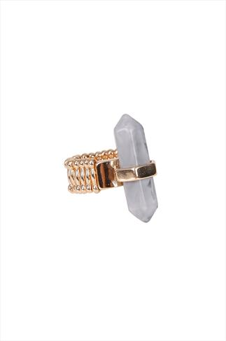 Gold & White Marble Effect Shard Stretch Ring