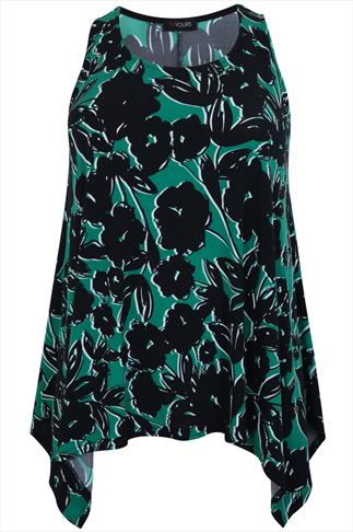 Green & Black Floral Print Sleeveless Top With Hanky Hem